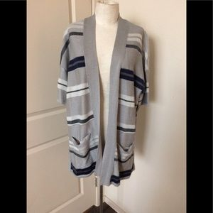 Lane Bryant grey stripe Cardigan sweater 14/16 $59